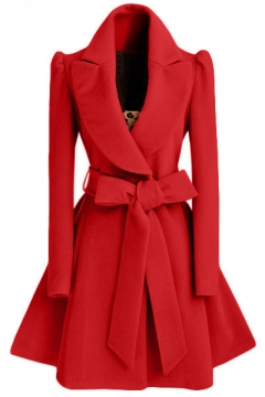 Winter New Fashion Notched Lapel Coat with Bow Tie Belt