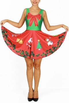 Fashion Reversible Color Block Christmas Santa Bell Print Sleeveless A-line Short Dress