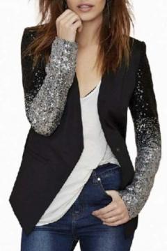 Women's Fashion Sequin Detail Long Sleeve Single Button Blazer