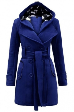 Fashion Hooded Lapel Long Sleeve Belt Waist Double Breasted Coat