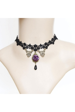 Vintage Halloween Party Necklace with Lace Floral Design