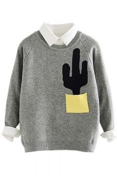 Fashion Color Block Cactus Pocket Round Neck Long Sleeve Sweater