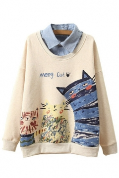 Cute Cat Print Lapel Dropped Long Sleeve False Two-Pieces