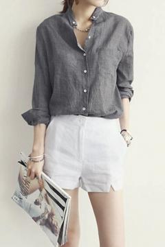 Oversize Loose Linen Long Sleeve Women Shirt