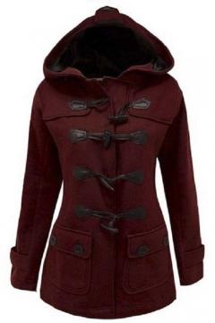 Women's Plus Size Long Sleeve Double Breasted Pea Coat Hoodie Winter Jacket