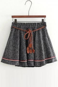 Retro Style Elastic Mid Waist Mini A-line Skirt with Belt