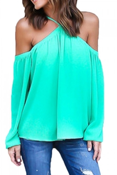 Women's Spaghetti Halter Off The Shoulder Blouse Long Sleeve Shirt Tops