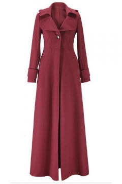 Fashion Notched Lapel Single Button Long Sleeve Plain Maxi Coat