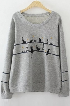 Women's Cute Cat Print Round Neck Long Sleeve Casual Basic Sweatshirt