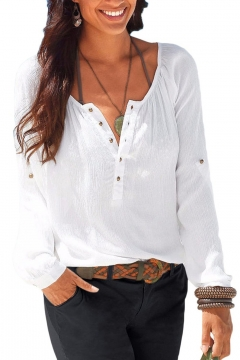 Womens Casual V Neck Blouses Linen Long Sleeve Button-Up Shirts Tops