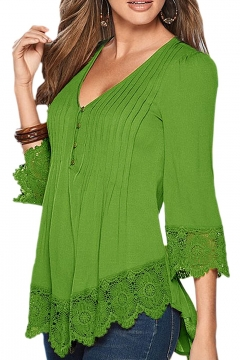 39de064ffebf5e Women's Flare Sleeve Lace Splice Loose Trim Casual Blouse T-shirt Tops