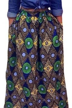 3ddf5b036 Women's African Print High Waist A-Line Pleated Maxi Skirt