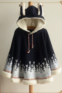 Lovely Rabbit Ears Hooded Animal Printed Cotton Trim Cape