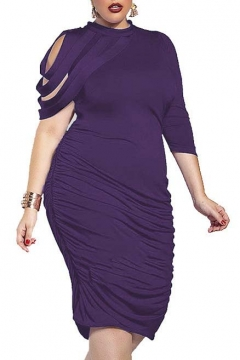 Women's Elegant Ruched Bodycon Party Cocktail Dress Plus Size
