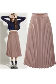 New Fashion High Waist Chiffon Plain Maxi Pleated Skirt
