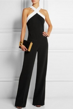 bdeb93a394ad Women s Halter Neck Criss Cross Wide Leg Long Pants Jumpsuits Rompers