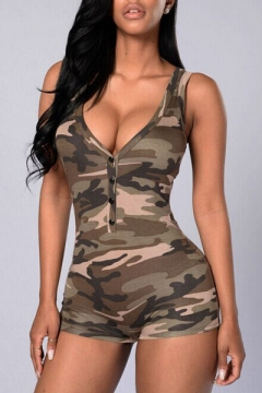 Sexy Women's Camouflage V-Neck Sleeveless Tank Rompers with Button Front