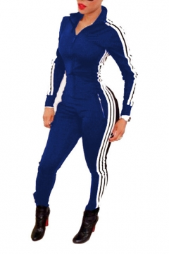 Women Long Sleeve Striped Unitard Bodysuit Jumpsuit