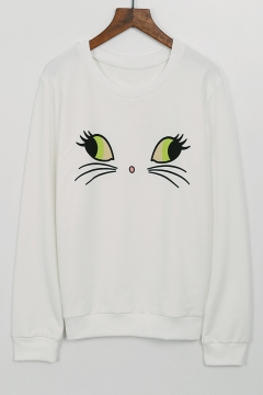 Cute Cat Face Printed Long Sleeve Round Neck Pullover Sweatshirt