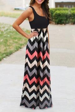 Women's Boho Empire Chevron Tank Top Casual Maxi Long Dress