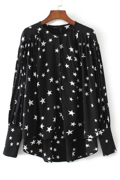 Star Printed Long Sleeve High Low Hem Single Breasted New Spring Button Down Top