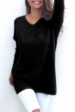 8cb87204ee Elegant V-Neck Long Sleeve Plain Tunic Pullover Sweater