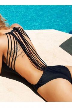 Sexy Open Bandage Back Scoop Neck Plain One-Piece Swimwear