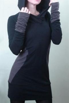 63b3dfc9 Women's Fashion Hooded Long Sleeve Color Block Tunic Hoodie Sweatshirt