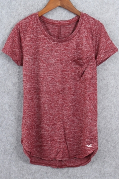 New Arrival Short Sleeve Round Neck Knitted Plain Tee with One Pocket