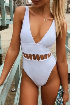 Women's Hollow Out Waist V-Neck Sleeveless Plain One Pieces Swimwear
