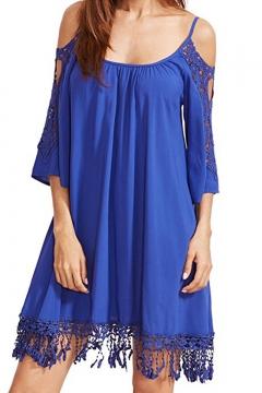 Spaghetti Straps Cold Shoulder Lace Hollow Out Tassel Trim Mini Swing Dress