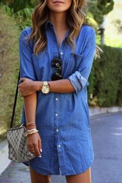 Women's Single Breasted Long Sleeve Lapel Tunic Denim Shirt