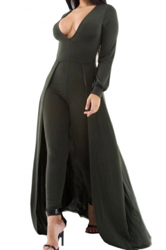New Stylish Sexy Plunge V-Neck Long Sleeve Plain Jumpsuits with Swallow-Tailed Hem