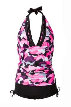 Color Block New Fashion Halter Neck Tank Top High Waist Bottom Swimwear
