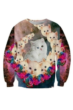 Galaxy Floral Cat Pattern Round Neck Long Sleeve Fashion Sweatshirt