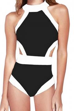 New Fashion Color Block Round Neck Open Back One Piece Swimwear