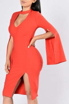 Sexy Cutout Keyhole Neck Split Long Sleeve Plain Midi Bodycon Dress