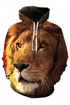 New Arrival 3D Lion Printed Long Sleeve Hoodie with Pockets