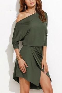 Hot Fashion One Shoulder Long Sleeve Plain Slit Front Mini Asymmetrical Dress