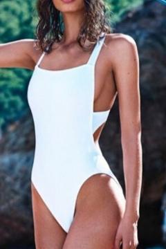 Summer's Crisscross Open Back Plain One Piece Swimwear