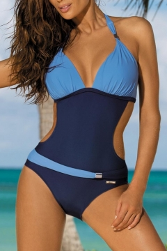 New Trendy Color Block Halter Neck Cut Out Waist One Piece Swimwear