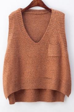 Fashion V Neck Sleeveless High Low Hem Basic Plain Sweater Vest with Single Pocket