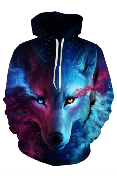 aec39d7d7ece Color Block Wolf 3D Printed Long Sleeve Hoodie Sweatshirt