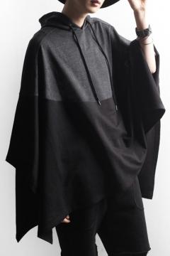 New Arrival Fashion Color Block Asymmetrical Hem Hooded Cape Coat