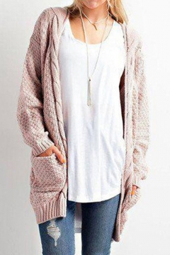 Fashion Cable Knit Open Front Long Sleeve Basic Simple Plain Cardigan with Double Pockets