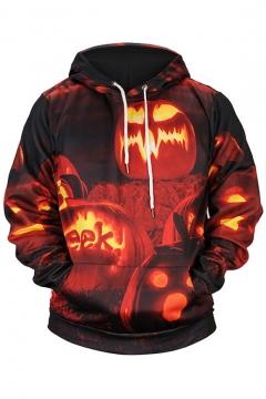 Fashion Halloween Pumpkin Monster Pattern Long Sleeve Casual Leisure Hoodie