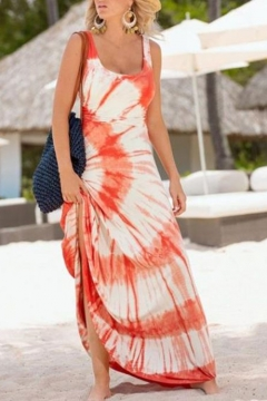 Fashion Tie Dye Color Block Scoop Neck Sleeveless Maxi Tank Dress
