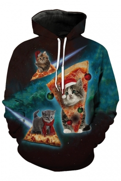 Chic Christmas Cheese Cartoon Cat Printed Long Sleeve Unisex Sports Casual Hoodie