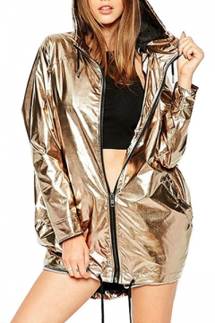 New Arrival Fashion Metallic Simple Plain Hooded Zip Up Street Style Coat