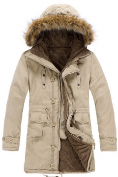 Winter's Warm Long Sleeve Fur Hooded Simple Plain Zip Up Cotton Coat